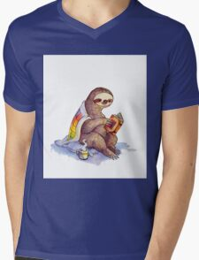 Cozy Sloth Mens V-Neck T-Shirt