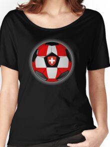 Switzerland - Swiss Flag - Football or Soccer Women's Relaxed Fit T-Shirt