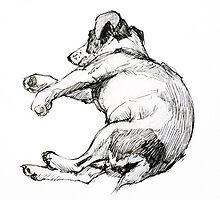 Ink sketch : Richard's dog sleeping by Roz McQuillan