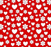 Flowers and hearts pattern by Stock Image Folio