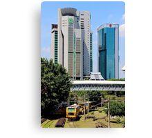 Old Train, Futuristic Buildings - Kuala Lumpur, Malaysia. Canvas Print