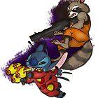 Stitch & Rocket Raccoon  by elenapugger
