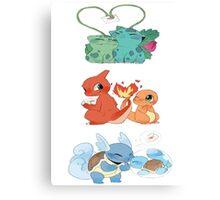 pokemon first gen starters love cute design Canvas Print