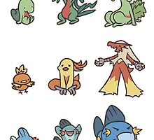 3rd gen pokemon starters cute design by pokemonmaster89