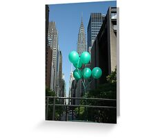 Green Balloons in New York Greeting Card