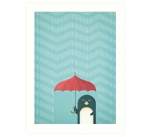 Vintage Penguin in the Rain Illustration Art Print