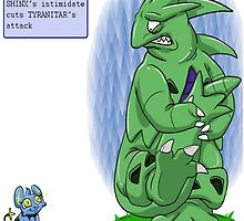 shinx intimidating tyranitar  by poketrainer777