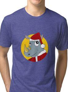 Christmas Rhinoceros  Tri-blend T-Shirt