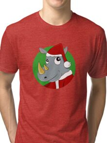 Christmas Rhinoceros  Tri-blend T-Shirt