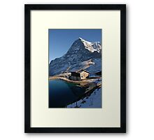 Eiger north face with small lake. Framed Print
