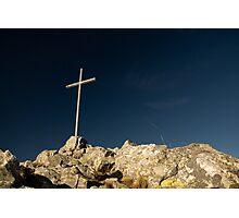 summit cross on deep blue sky Photographic Print