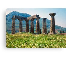 Towards the Acrocorinth, with Temple of Apollo Canvas Print