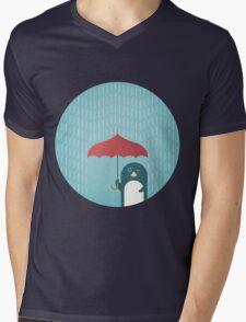 Penguin in the Rain Mens V-Neck T-Shirt