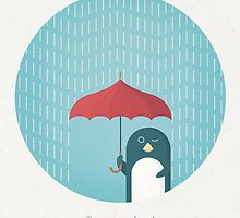 Penguin in the Rain by VintageTravelPosters .co