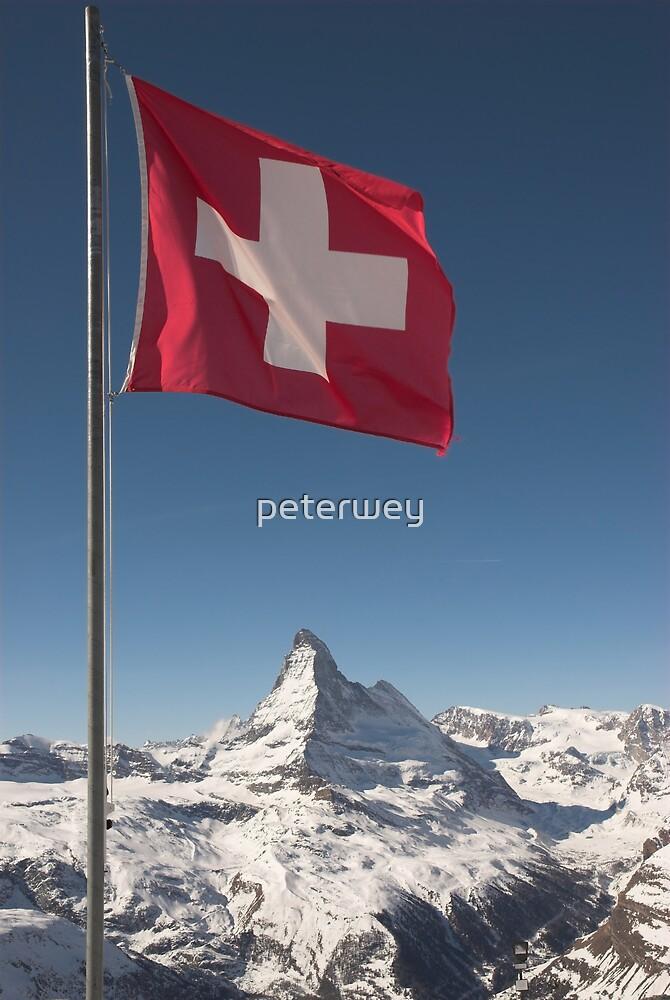 Swiss flag and matterhorn by peterwey