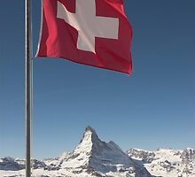 Swiss flag and matterhorn by peterwey
