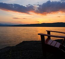 Sunset - Adirondack Chair - Basin Harbor Resort by Stephen Beattie