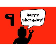 Happy 9th Birthday Greeting Card Photographic Print