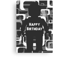 Retro Minifig Art Happy Birthday  Canvas Print