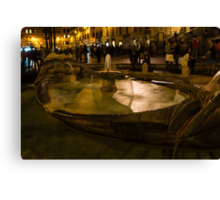 Oasis of Calm Water in the Middle of the Hustle and Bustle of the Piazza Canvas Print