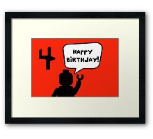 Happy 4th Birthday Greeting Card Framed Print