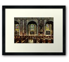 The church benches Framed Print