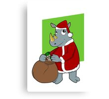 Christmas Rhinoceros  Canvas Print