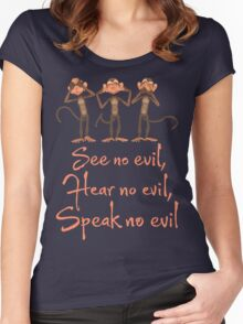 See No Evil - Hear No Evil - Speak No Evil - 3 Wise Monkeys T Shirt Women's Fitted Scoop T-Shirt