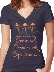 See No Evil - Hear No Evil - Speak No Evil - 3 Wise Monkeys T Shirt Women's Fitted V-Neck T-Shirt