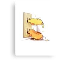 pikachu and raichu in a plug lol Metal Print