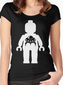 Minifig with Space Invader UFO Logo, Customize My Minifig Women's Fitted Scoop T-Shirt