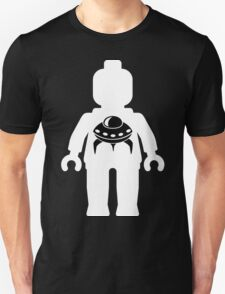 Minifig with Space Invader UFO Logo, Customize My Minifig T-Shirt