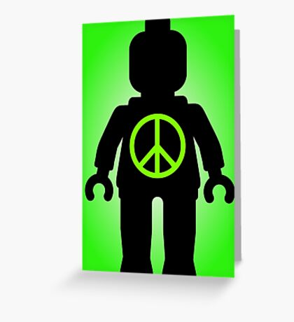 Black Minifig with Peace Symbol, Customize My Minifig Greeting Card