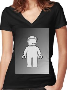 Banksy Style Astronaut Minifig, Customize My Minifig Women's Fitted V-Neck T-Shirt