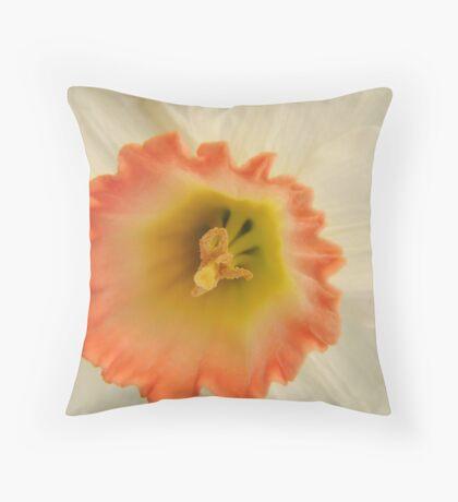 Peach & White Daffodil Throw Pillow
