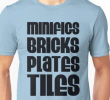 """MINIFIGS BRICKS PLATES TILES"", Customize My Minifig Unisex T-Shirt"