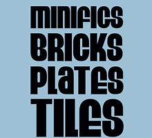 """MINIFIGS BRICKS PLATES TILES"", Customize My Minifig Unisex T-Shirt"