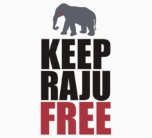 Protest 'Keep Raju Free' Animal Rights Crying Elephant T-Shirt and Accessories by Albany Retro
