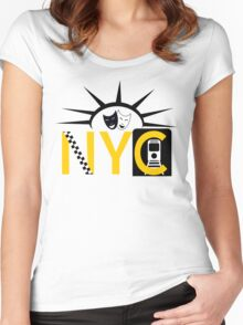 NYC icons collage New York Women's Fitted Scoop T-Shirt