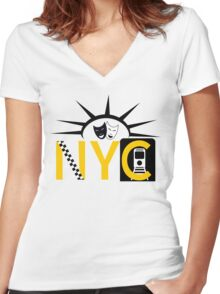 NYC icons collage New York Women's Fitted V-Neck T-Shirt