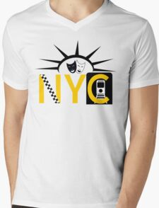 NYC icons collage New York Mens V-Neck T-Shirt