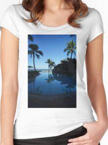 Pool by the Sea- Oahu, Hawaii Women's Fitted Scoop T-Shirt