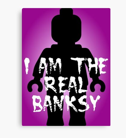 """Black Minifig with """"I am the Real Banksy"""" slogan, Customize My Minifig Canvas Print"""