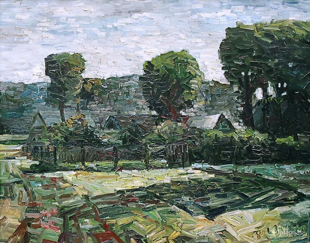 Vasarai baigiantis ties Vilhelmo kanalu (Village close Vilhelm canal) by Julijonas