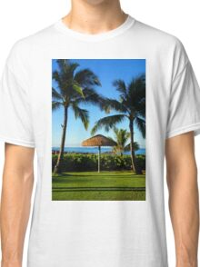 Thatched Umbrella by the Sea Classic T-Shirt