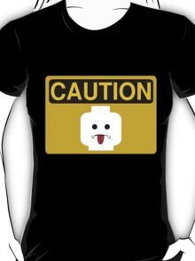 Caution Rude Minifig Head Sign T-Shirt