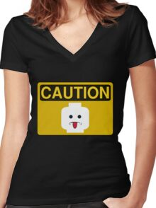 Caution Rude Minifig Head Sign Women's Fitted V-Neck T-Shirt