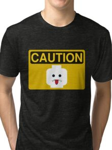 Caution Rude Minifig Head Sign Tri-blend T-Shirt