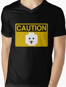 Caution Rude Minifig Head Sign Mens V-Neck T-Shirt