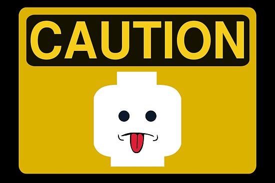 Caution Rude Minifig Head Sign by Customize My Minifig